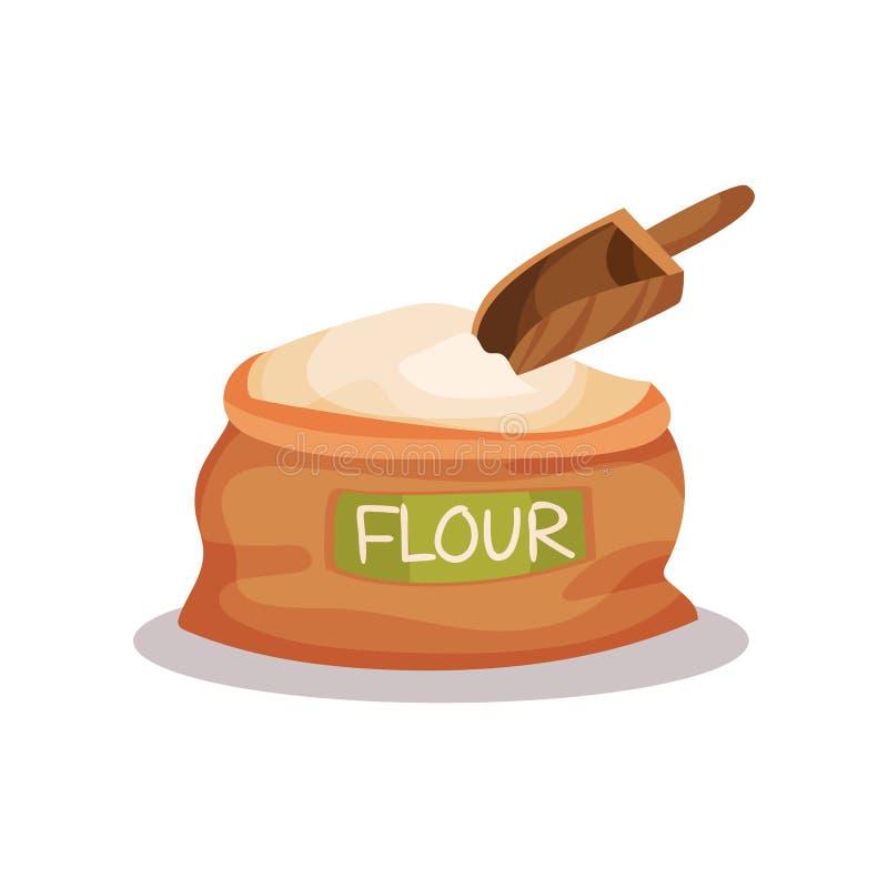 Sacco di farina e dell'illustrazione di legno di vettore del mestolo su un fondo bianco royalty illustrazione gratis