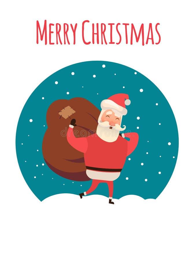 Sacco di trasporto del Babbo Natale in pieno dei regali Tempo di natale Venuta di Natale Illustrazione di vettore per il vostro w illustrazione di stock