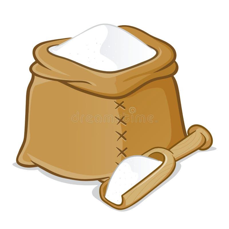Sacco in pieno di farina con il mestolo di legno illustrazione vettoriale