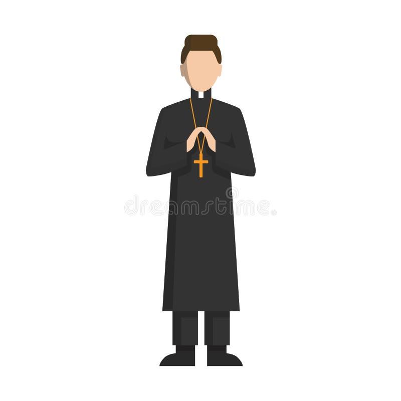 Sacerdote católico aislado stock de ilustración