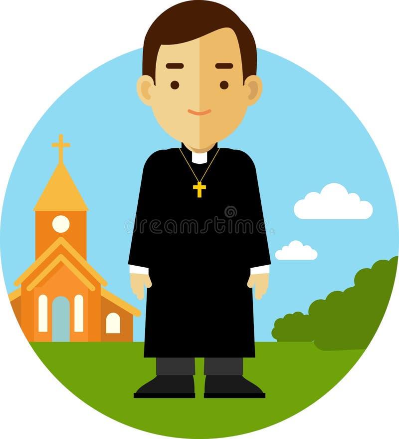 Sacerdote católico en fondo de la iglesia en estilo plano stock de ilustración