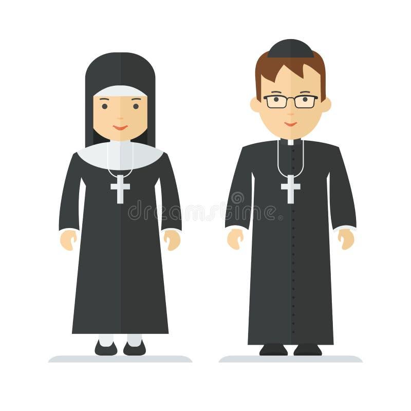 Sacerdote católico y monja stock de ilustración