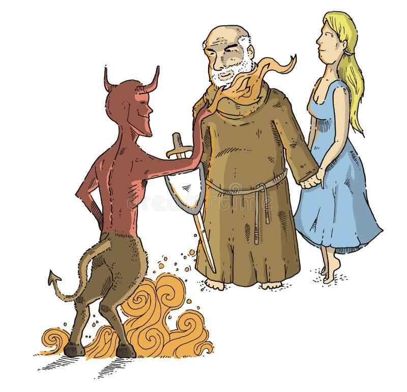 Sacerdote contra diablo imagenes de archivo