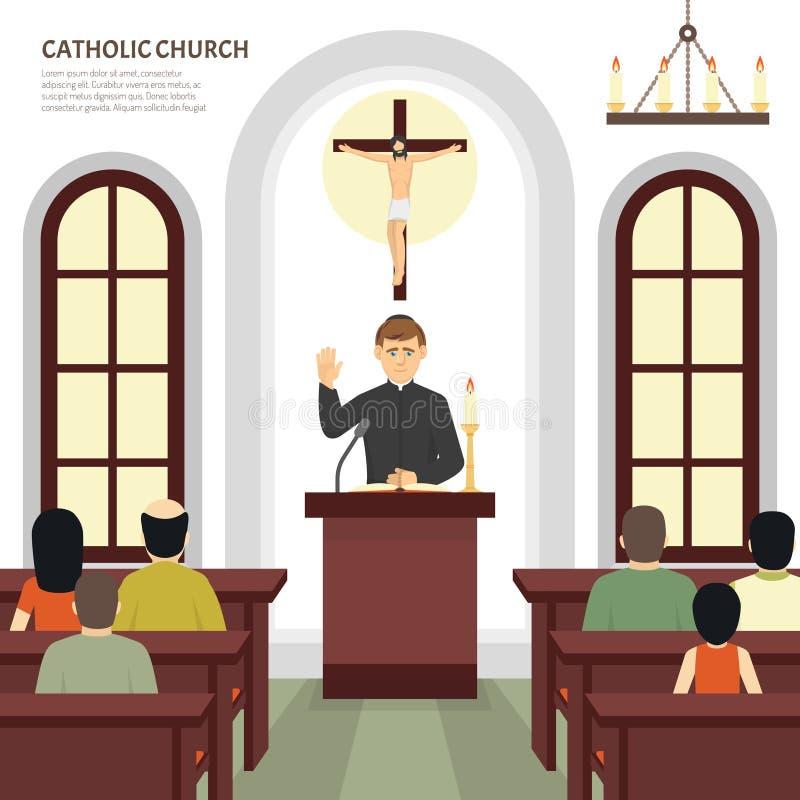 Sacerdote de la iglesia católica ilustración del vector