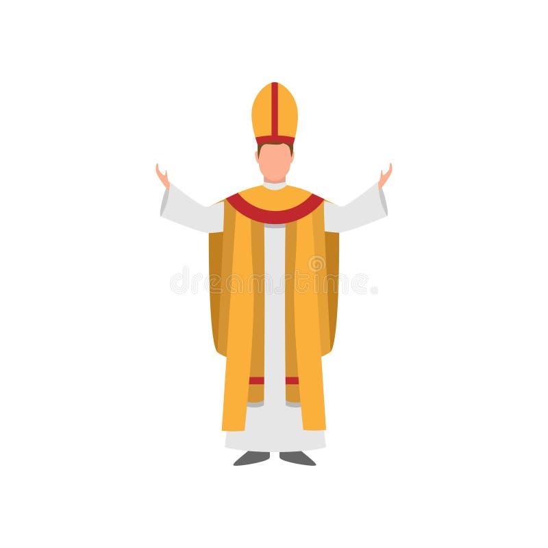 Sacerdote de la iglesia o de la catedral con ropa del oro blanco con colorido rojo stock de ilustración