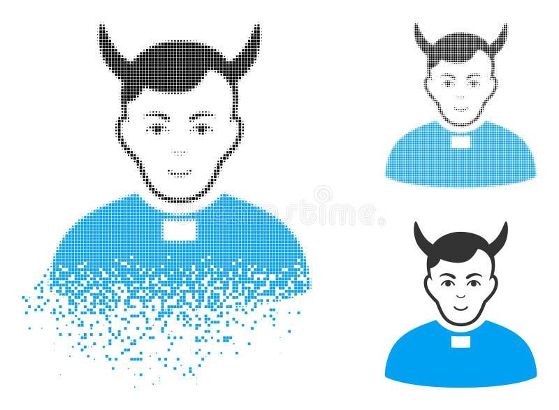 Sacerdote de semitono de desaparición Icon del diablo del pixel con la cara stock de ilustración