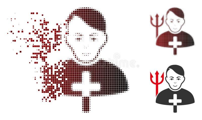 Sacerdote de semitono disuelto Icon de Satanás del pixel con la cara ilustración del vector
