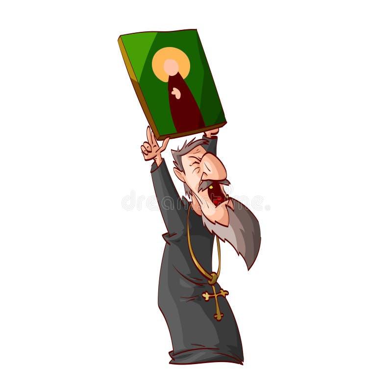 Sacerdote o monje ortodoxo del este enojado de la historieta ilustración del vector