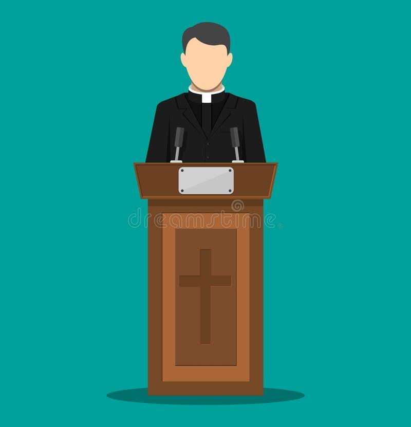 Sacerdote pronunciar discurso de la tribuna libre illustration