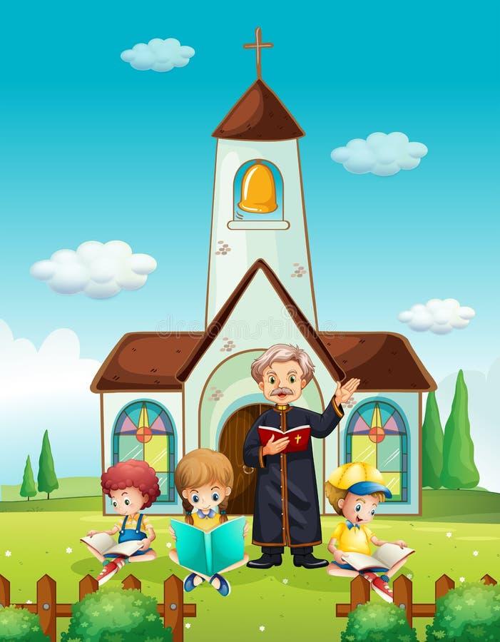 Sacerdote y niños en la iglesia libre illustration