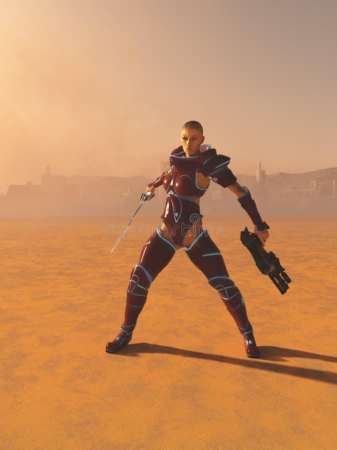 Sacerdotessa del guerriero della fantascienza nel deserto illustrazione di stock