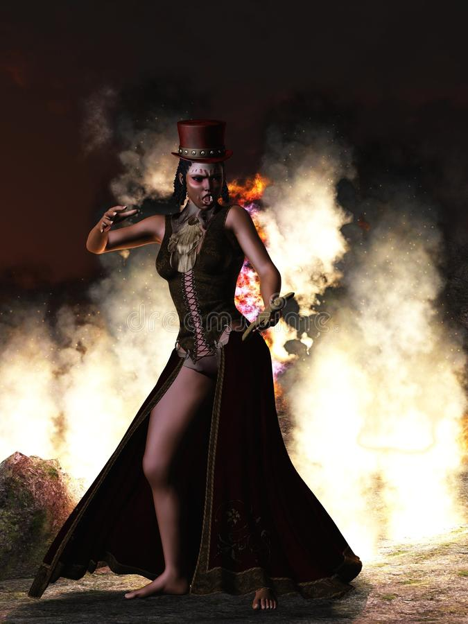 Sacerdotessa di voodoo con la bambola di voodoo illustrazione vettoriale