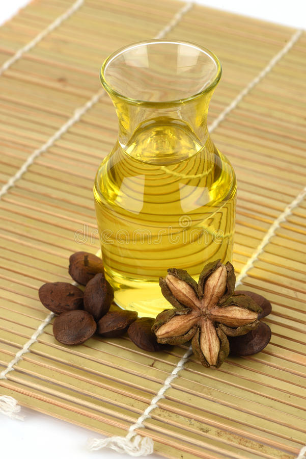 Sacha inchi, Sacha inchi, Sacha mani, Inca peanut oil from seeds and Sacha. Inchi, an element with a high protein (27%) and oil (35-60%), and oil is also rich stock photo
