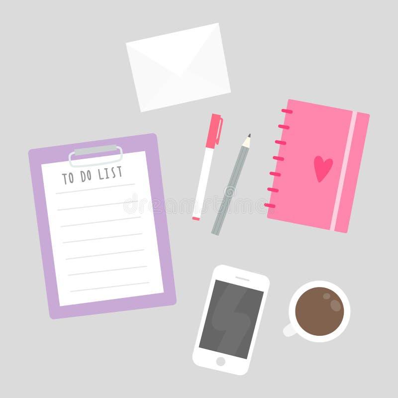 Sachen auf dem Tisch stock abbildung