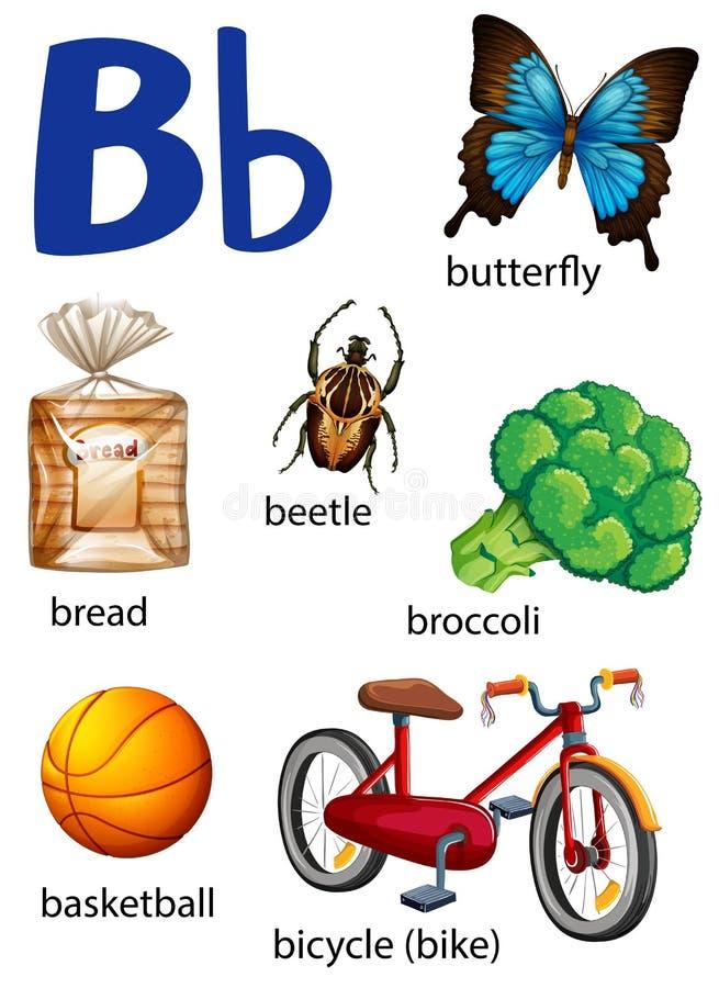 Sachen, die mit dem Buchstaben B beginnen vektor abbildung