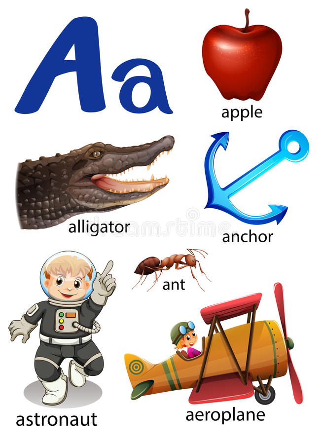 Sachen, die mit dem Buchstaben A beginnen stock abbildung