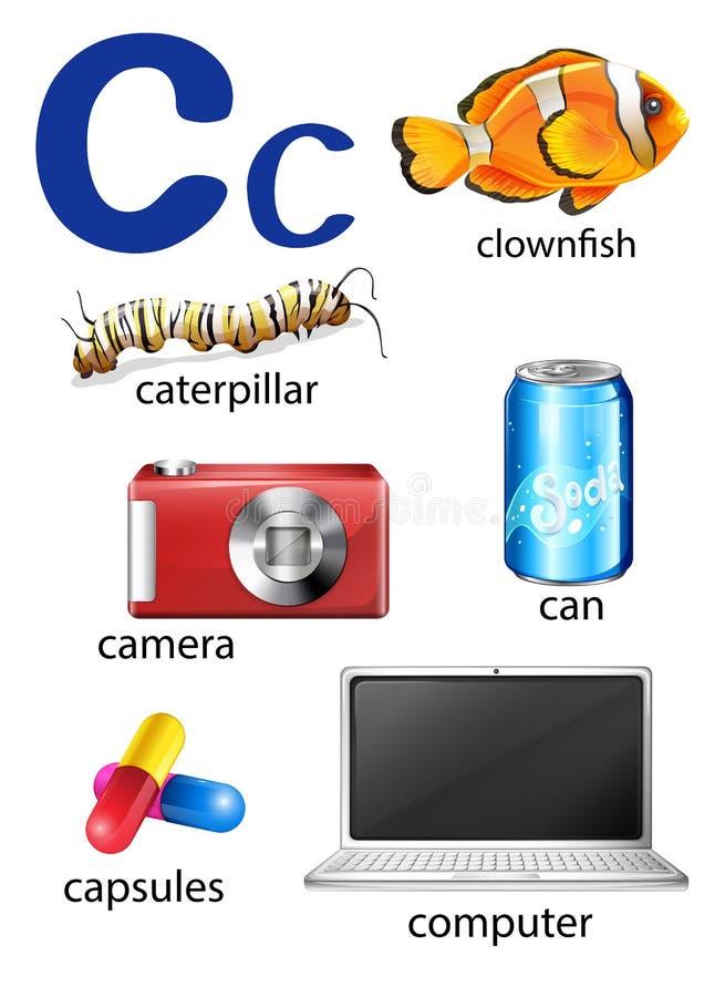 Sachen, die mit dem Buchstaben C beginnen lizenzfreie abbildung