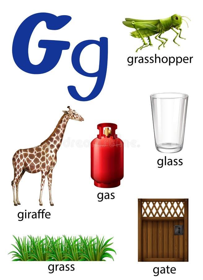 Sachen, die mit dem Buchstaben G beginnen vektor abbildung