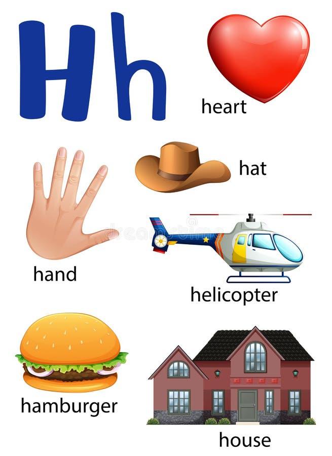 Sachen, die mit dem Buchstaben H beginnen vektor abbildung