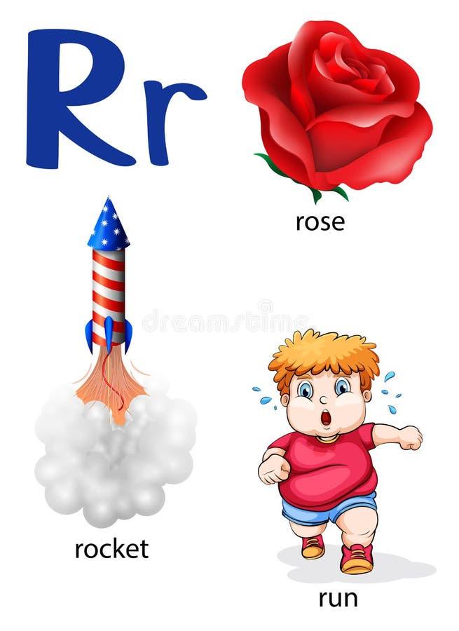 Sachen, die mit dem Buchstaben R beginnen lizenzfreie abbildung