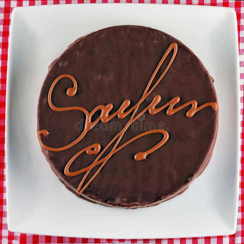 Sacher奶油蛋糕 免版税库存照片