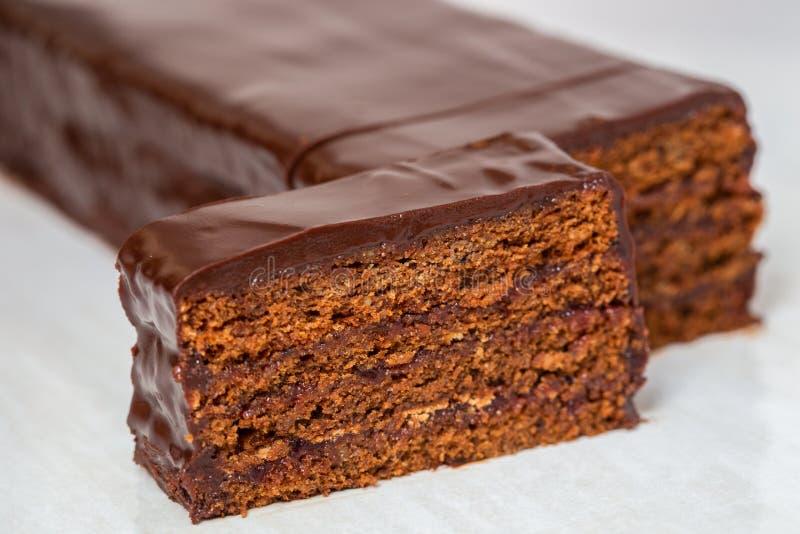 Sacher蛋糕-传统奥地利巧克力点心 库存照片