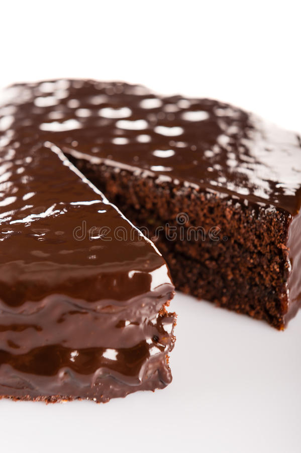 Sacher cake with chocolate icing topping