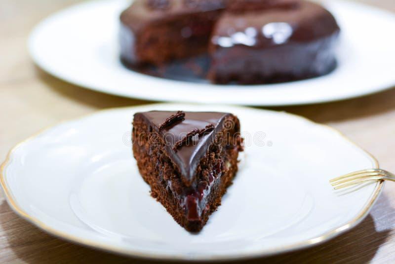 Sacher kaka med choklad och driftstopp En mycket smaklig tysk kaka royaltyfri bild