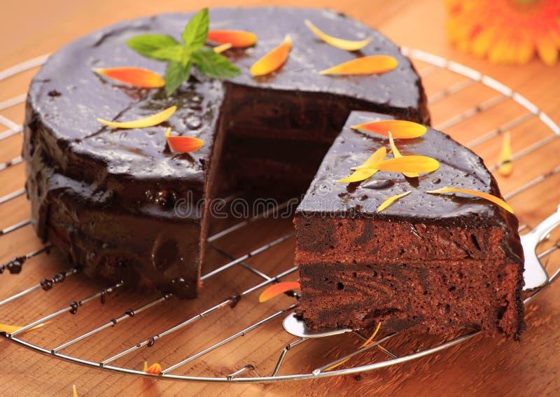 Sacher tårta royaltyfri foto