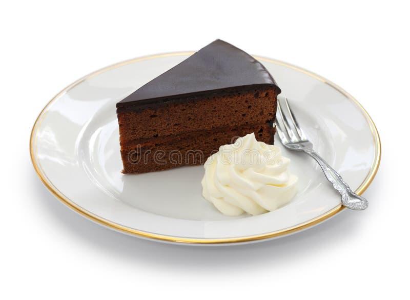 Sachertorte hecho en casa, torta de chocolate austríaca foto de archivo