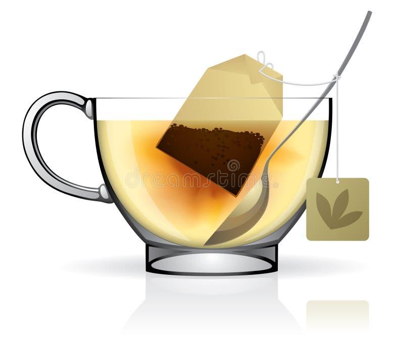Sachet à thé dans la cuvette illustration de vecteur
