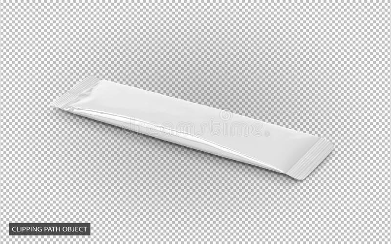Sachet de bâton de café soluble de papier d'aluminium d'emballage de blanc photo stock