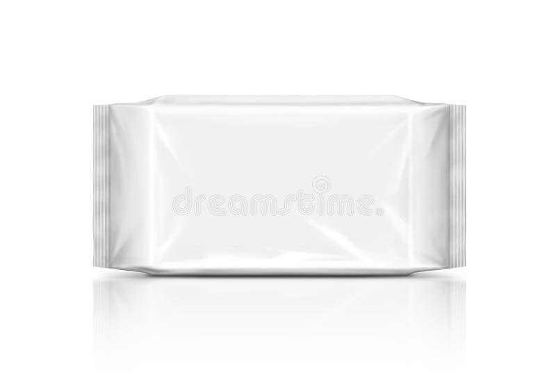 Sachet en matière plastique vide d'isolement sur le fond blanc photo libre de droits