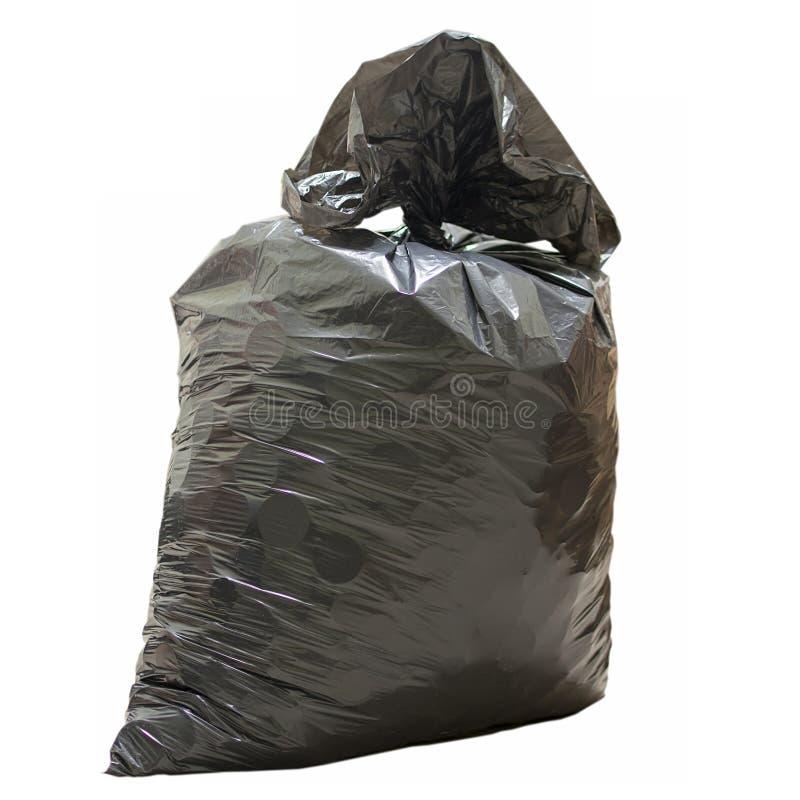 Sachet en plastique avec la fin de déchets  image stock