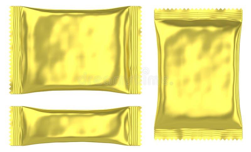 Sachet en plastique d'or rectangulaire de poche illustration stock