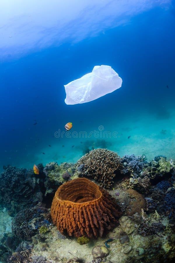 Sachet en plastique hors d'usage flottant au-dessus d'un récif coralien photographie stock