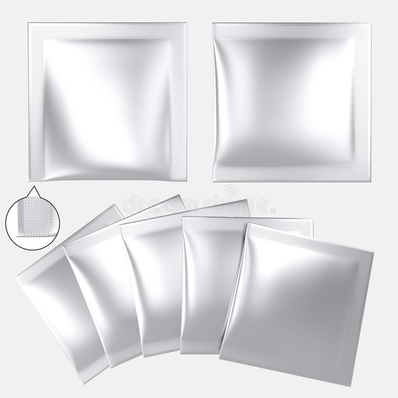 Sachet en plastique vide de poudre d'aluminium argenté illustration de vecteur