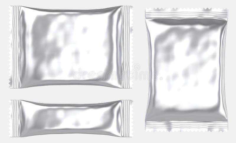 Sachet en plastique vide rectangulaire de poche d'aluminium illustration libre de droits