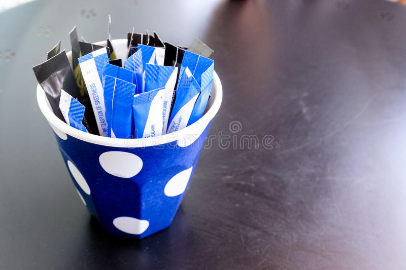 Sachets of Artificial Sweetener royalty free stock photography