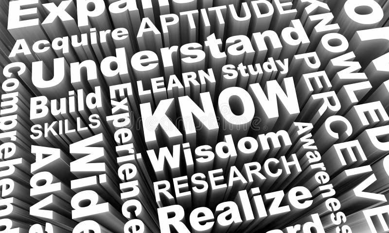 Sachez apprennent que les mots 3d de la connaissance de sagesse d'éducation rendent Illustrati illustration stock