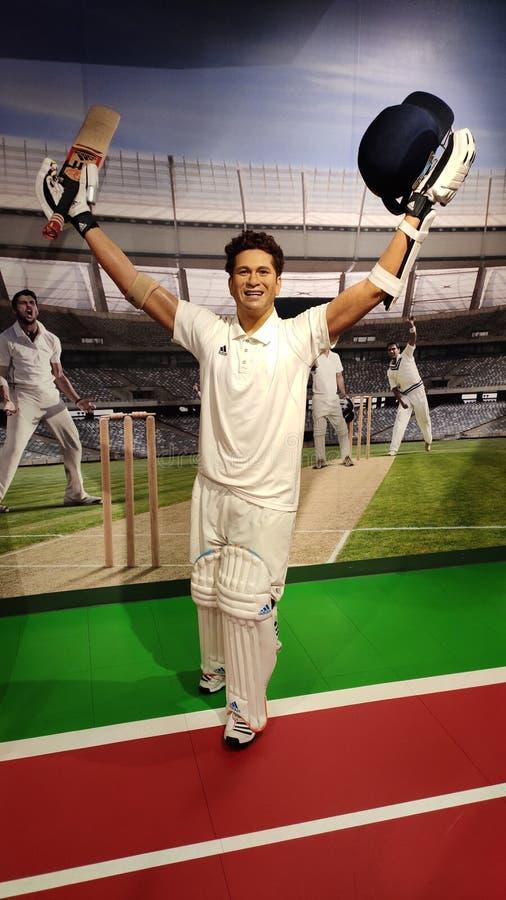 Sachin Tendulkar  wax statue, madame tussauds museum, Singapore. Sachin Ramesh Tendulkar is a former Indian international cricketer and a former captain of the stock photography