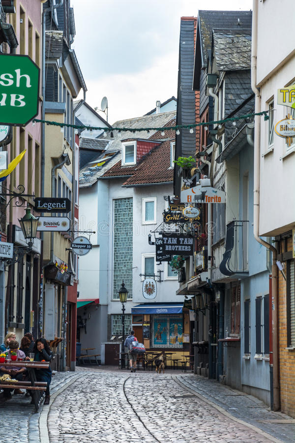 Sachsenhausen in Frankfurt. FRANKFURT AM MAIN, GERMANY - MAY 18, 2016: Sachsenhausen with half-timbered houses-the historic southern bank of the river Main, very royalty free stock images