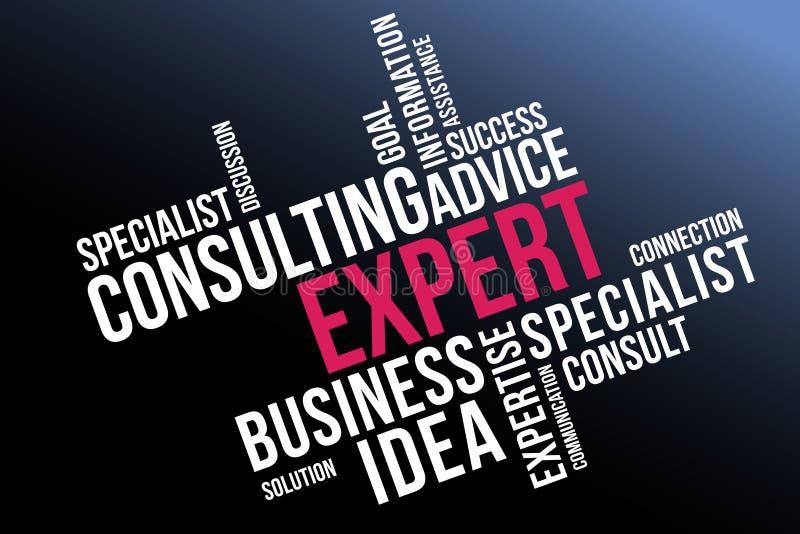 Sachverständige Wortwolkencollage, Geschäft und Teamwork-Konzepthintergrund lizenzfreie abbildung