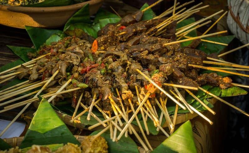 Saciar ou alimento tradicional da reunião do satai fotografia de stock