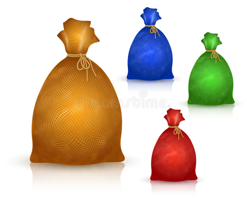 Sack Bag Burlap Rope Realistic Filled Icon Set stock illustration