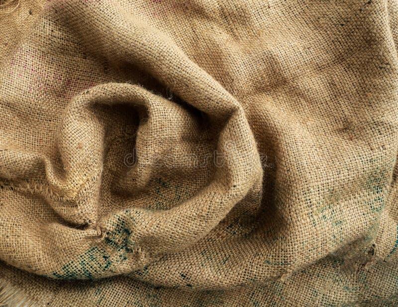 Sack-Beschaffenheits-Hintergrund Brown, gesponnen stockbild