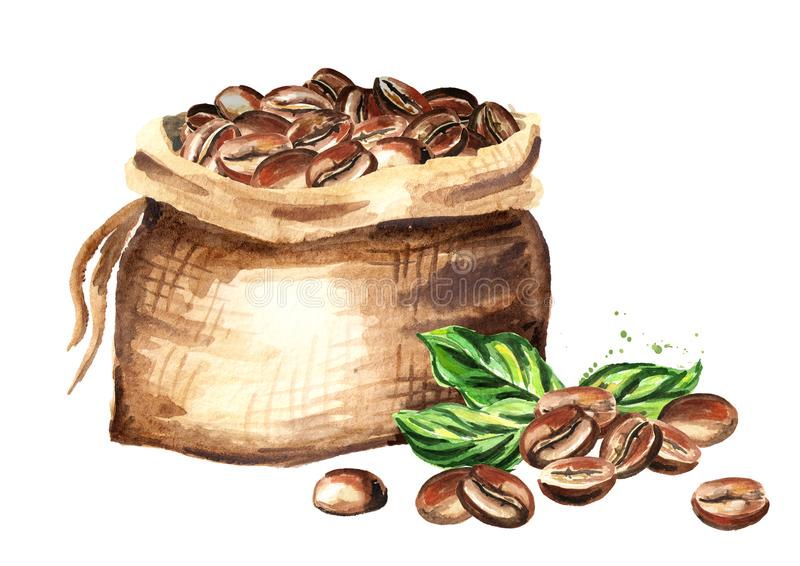 Sack of coffee beans. Watercolor hand drawn illustration, isolated on white background. stock illustration