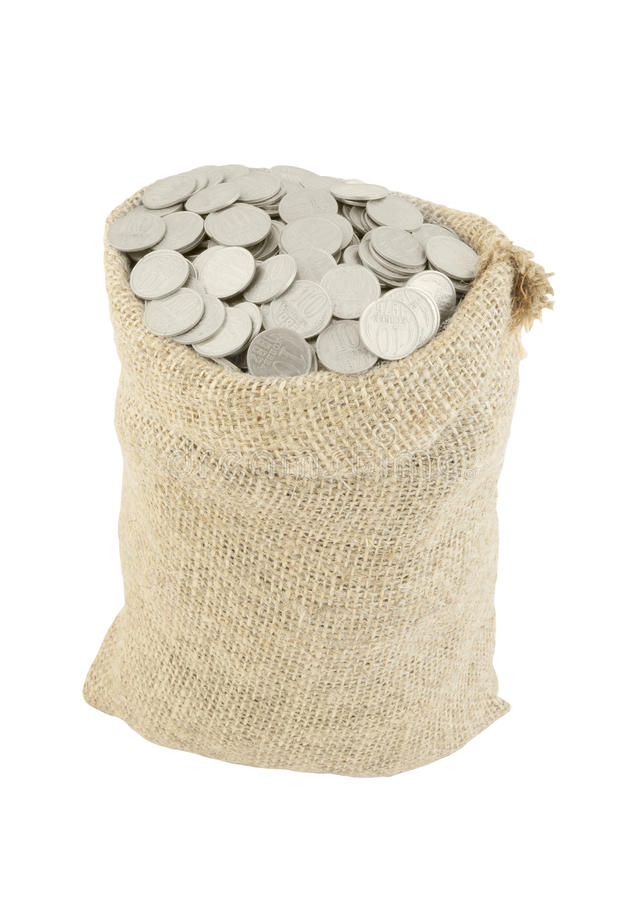 Sack with coins isolated stock photography