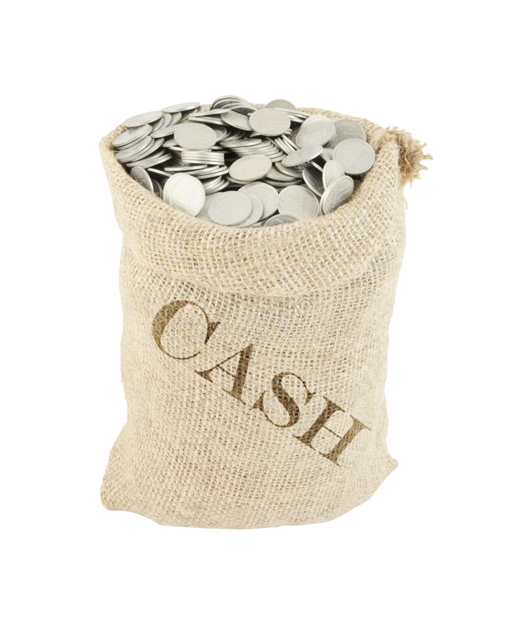Sack with coins isolated stock photos