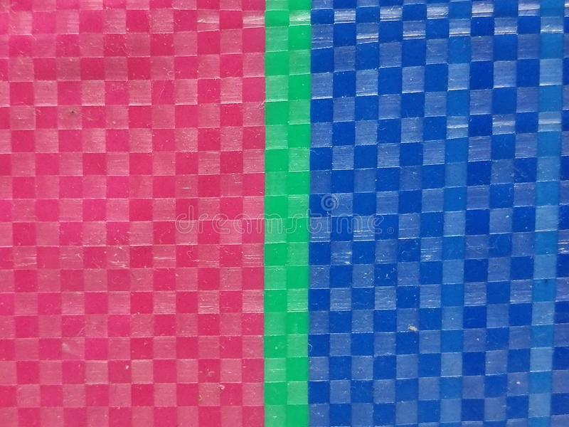 Sack color stripe background surface, summer color layer, color chessboard grid, pink green and navy blue, green color at middle. Blur Sack color stripe royalty free stock photos
